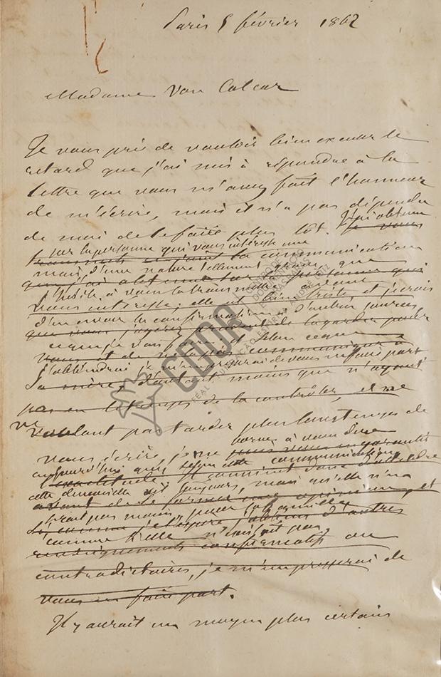 Carta manuscrita de Allan Kardec a Madame Van Calcar página 1