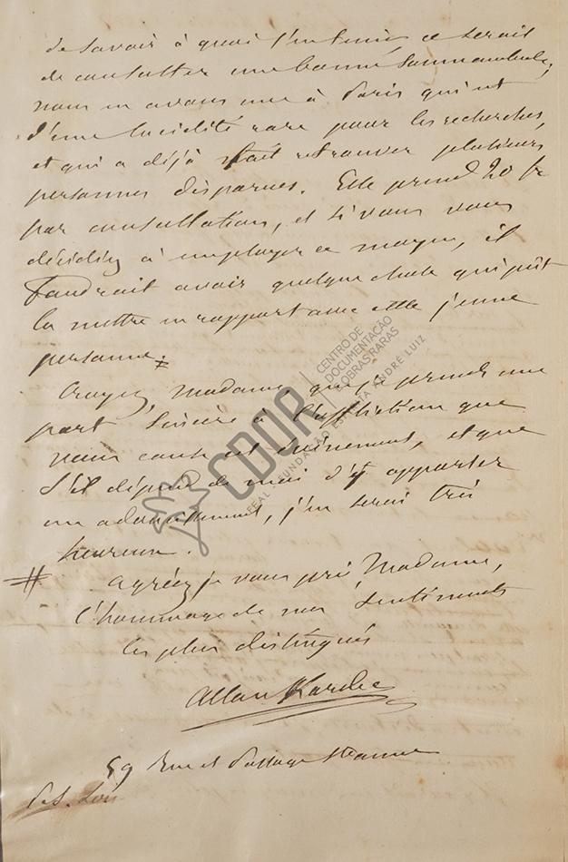 Carta manuscrita de Allan Kardec a la señora Van Calcar página 2
