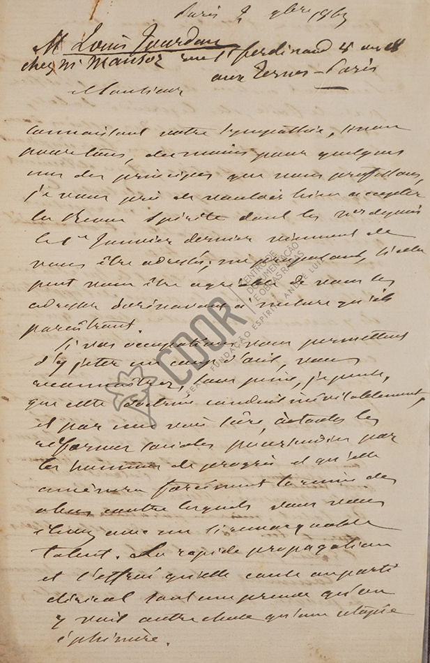 Carta de Kardec a Jourdan 02-11-1863 1