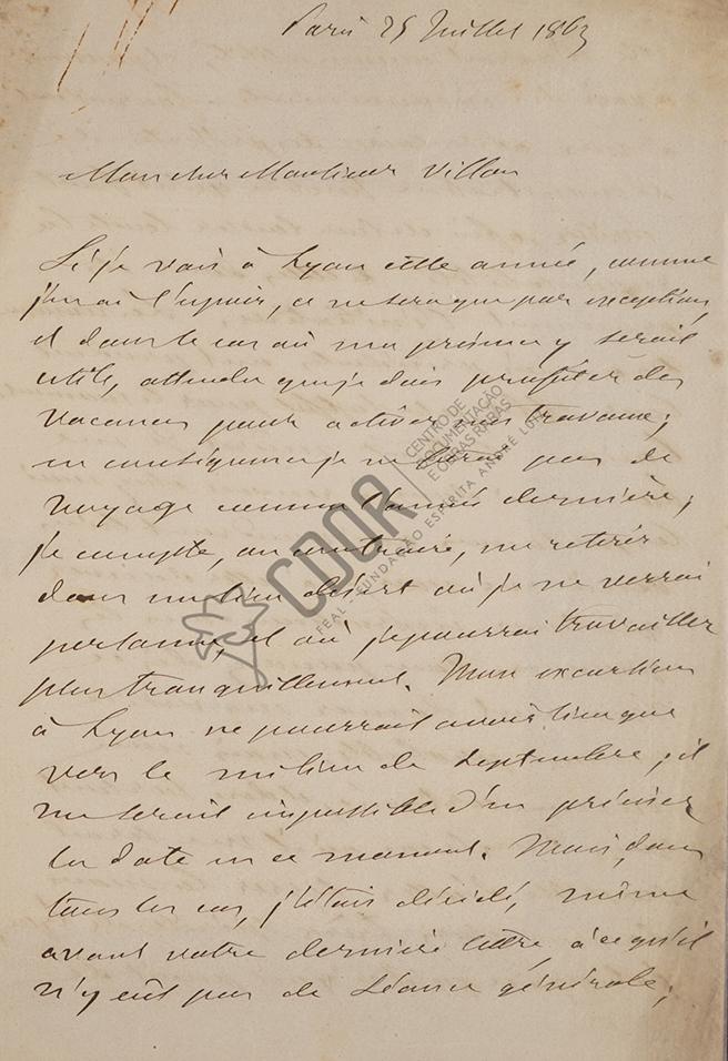 Carta de Allan Kardec a Villon 25-07-1863 Página 1