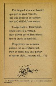 Facsimil de uno de los recordatorios repartidos en el entierro de Miguel Vives