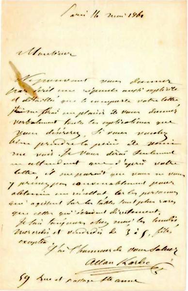 Carta de Allan Kardec a un destinatario desconocido