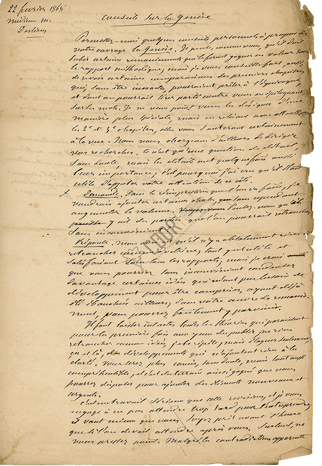 Manuscrito de Allan Kardec sobre La Génesis 21-2-1868 Página 1