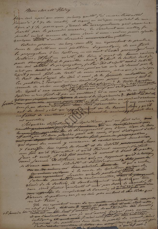 Carta de Allan Kardec a Thiry 03-05-1861 Página 1