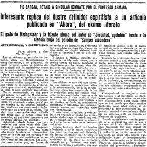 Página de el Heraldo de Madrid. (6-2-1935) que contiene la primera parte del artículo Metempsicosis y Espiritismo