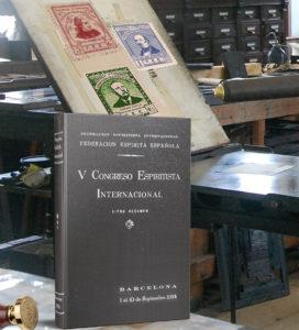 Imagen 5º Congreso Espiritista Internacional con la vista de los sellos conmemorativos