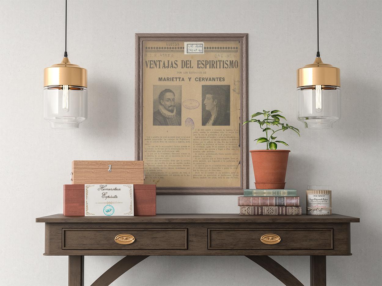Póster Ventajas del Espiritismo por los Espíritus de Cervantes y Marietta