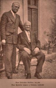 Quintín López (sentado), a la edad de 70 años, junto a Salvador Molina