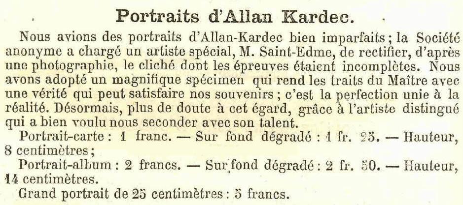 Retrato A. Kardec Revue Spirite 1872