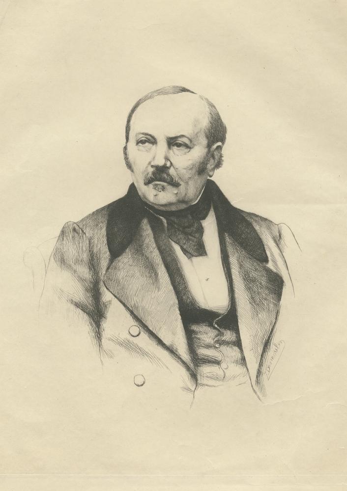 Retrato de Allan Kardec 6 (Hippolyte Leon Denizard Rivail), diseño y grabado por Desmoulin, pintor. (Siglo XIX)