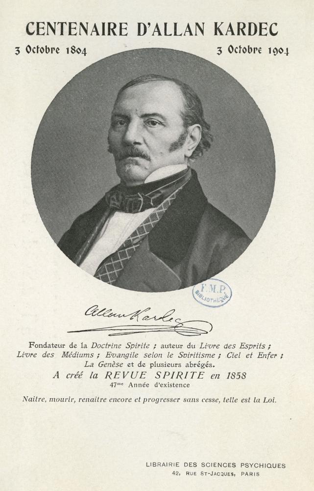 Retrato de Allan Kardec 7 (Hippolyte Leon Denizard Rivail), Centenario de Allan Kardec, diseño e imágenes por Libraire des Sciences Psychiques. (Siglo XIX)