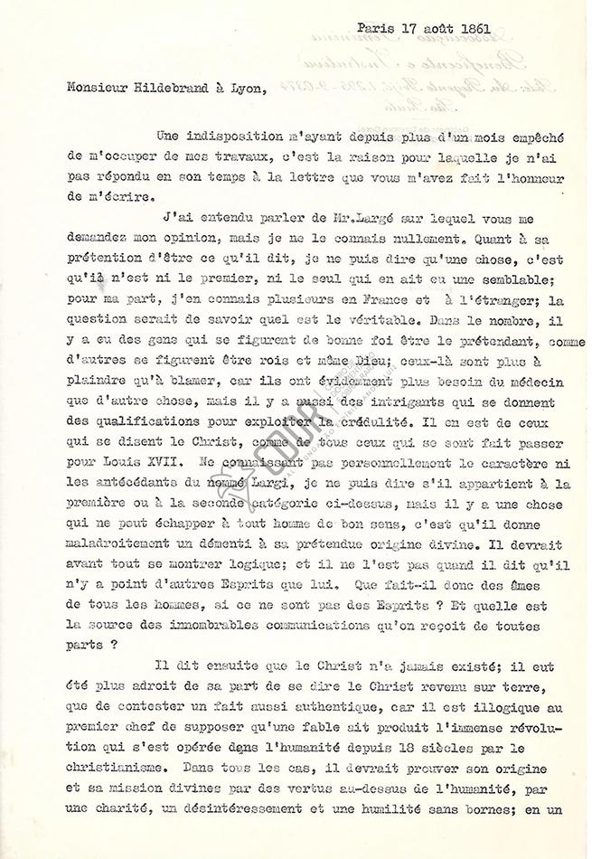 Transcripción Carta de Allan Kardec a Hildebrand 17-08-1861 1