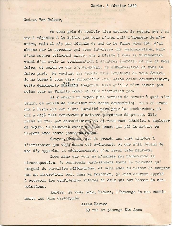 Transcripción en francés de la Carta manuscrita de Allan Kardec a la señora Van Calcar página 1