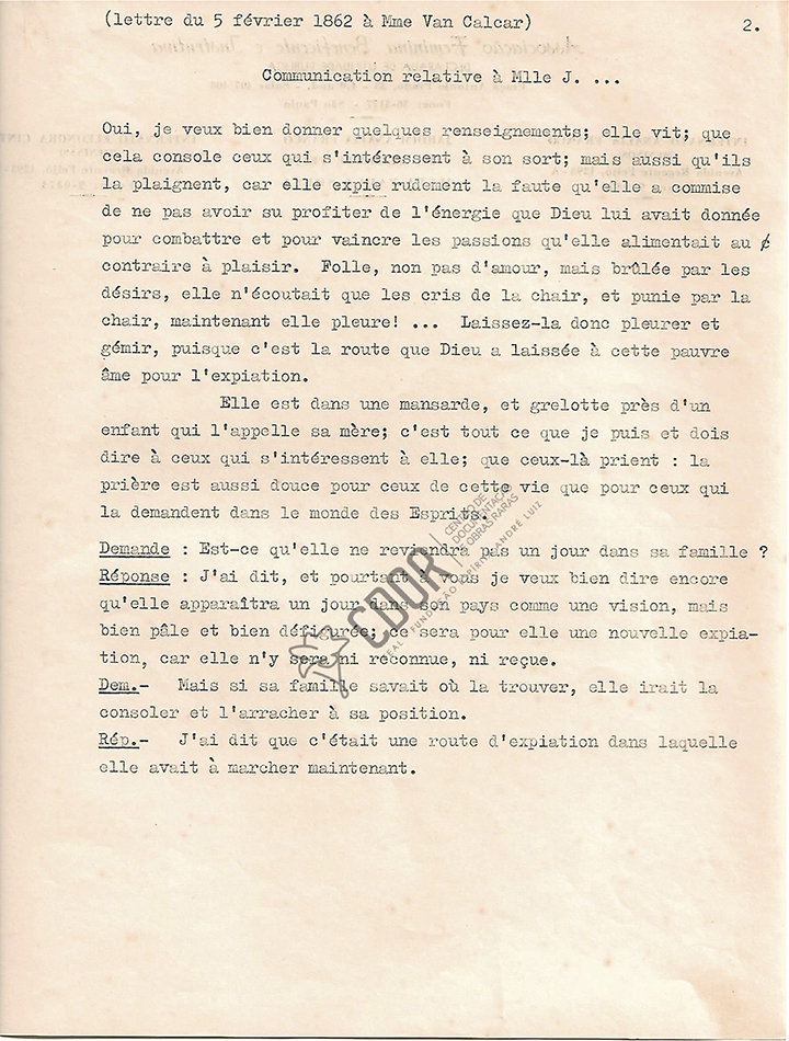 Transcripción al frances de la Carta manuscrita de Allan Kardec a la señora Van Calcar página 2