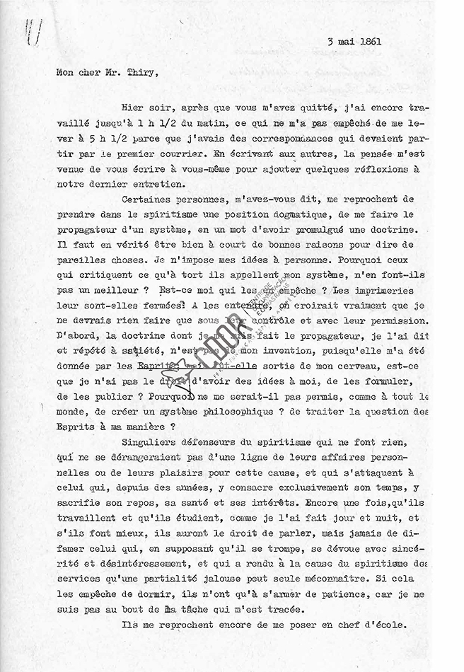 Transcripción carta de Allan Kardec a Thiry 03-05-1861 Página 1
