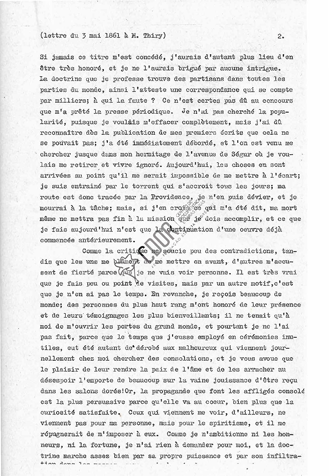Transcripción carta de Allan Kardec a Thiry 03-05-1861 Página 2