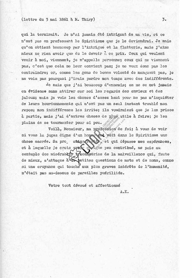 Transcripción carta de Allan Kardec a Thiry 03-05-1861 Página 3