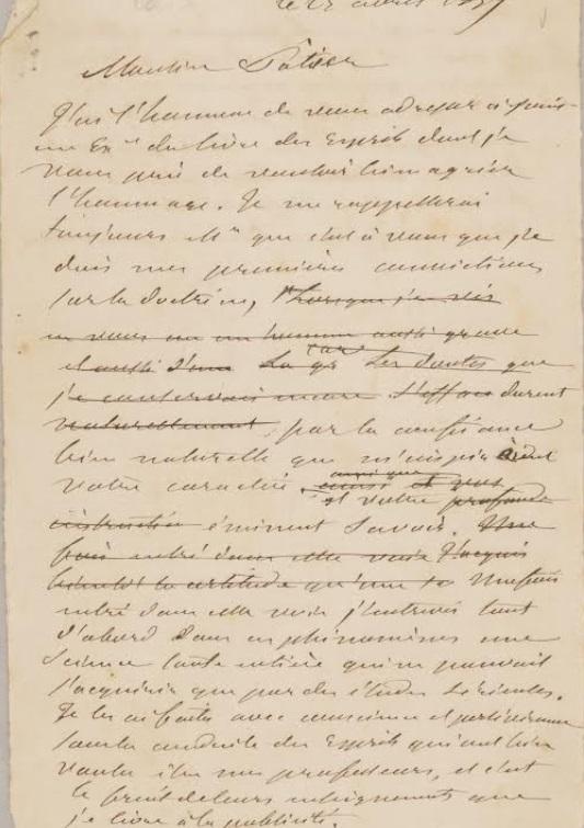 Carta a Patier de Allan Kardec primera hoja